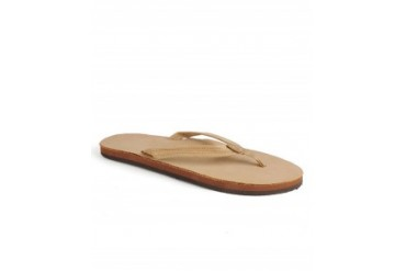 Rainbow Narrow Strap Leather Thong Flip Flops Tan, L
