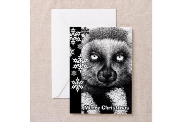 Ring-tailed Lemur Christmas Card Art Greeting Card by CafePress