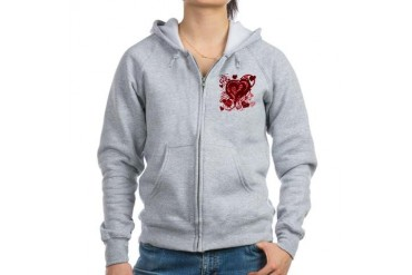 Pink and red hearts Love Women's Zip Hoodie by CafePress