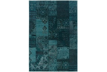 Sphinx Revival Transitional Blue Patchwork Washed Panels Florals Area Rug