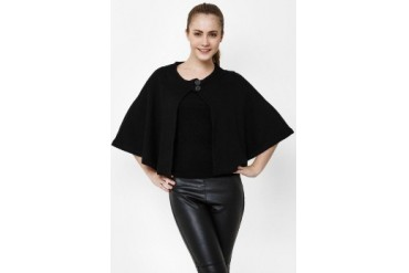 Noir Sur Blanc Ladies Poncho W/Button