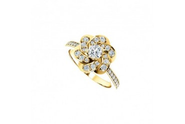 April Birthstone Cubic Zirconia Floral Ring in 14K Yellow Gold 0.75 CT TGW