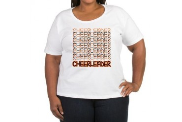 Cheerleader orange Women's Plus Size Scoop Neck Black Women's Plus Size Scoop Neck T-Shirt by CafePress