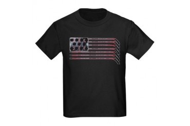 US Hockey Flag Kids Dark T-Shirt