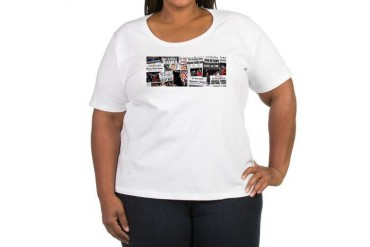 Obama Victory Headline Collag Women's Plus Size Sc Political Women's Plus Size Scoop Neck T-Shirt by CafePress