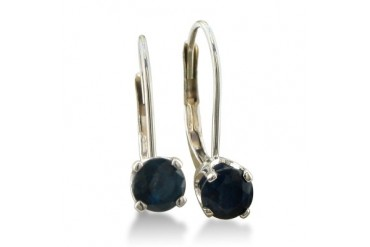1 2ct Solitaire Sapphire Leverback Earrings, 14k White Gold