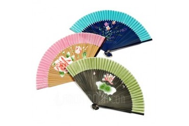 Floral Design Bamboo/Silk Hand fan (Set of 4) (051040470)