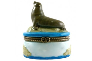 Sea Lion Porcelain Hinged Trinket Box phb