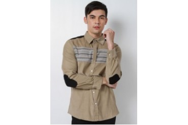 Long Sleeve Corduroy Shirt w/ Front Print & Elbow Patch