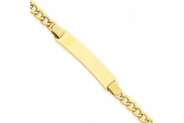14K Yellow Gold 7 8 Inch Plate ID Bracelet With Lobster Clasp, 7 Inch