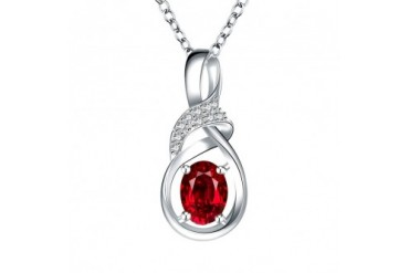Ruby Red Curved Emblem Drop Necklace