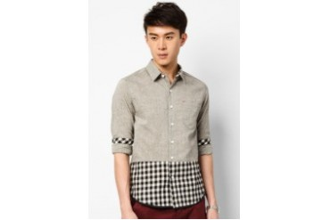 Long Sleeve Shirt With Plaid Panel