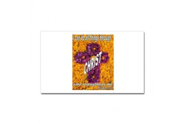 I CAN DO ALL THINGS THROUGH CHRIST PHIL 4:13 Stick Flowers Sticker Rectangle by CafePress