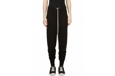Rick Owens Black Knit Harem Pants