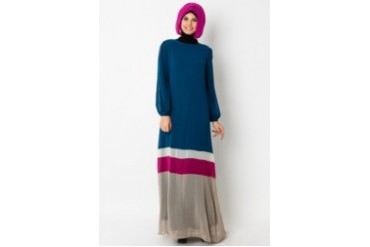 LUXE by Ethnic Chic Color Block Chiffon Gamis