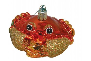 Coastal Red Steamed Crab Blown 4 Inch Glass Christmas Holiday Ornament