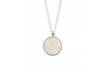 "Anna Beck 30"" Wire-Rimmed Disc Pendant Necklace Silver"