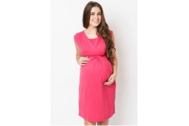 Nursing Wrap Dress With Side Waist Knots
