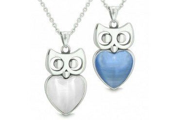 Amulets Owl Hearts Love Couples Set Star Cats Eye Necklaces