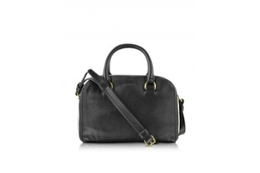 Lucien Black Striped Leather Small Boston Bag