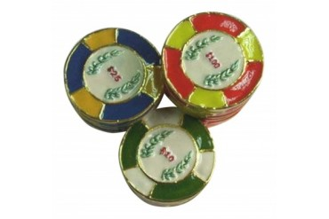 Stack of Gambler s Poker Chips Enameled Hinged Pewter Trinket Box