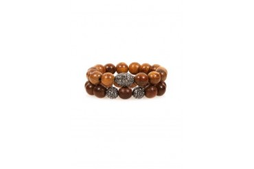Large Beaded Wood Bracelet Set in Brown - designed by HIPCHIK
