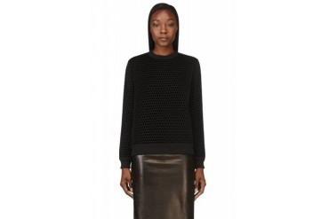 Givenchy Black Mesh Overlay Velvet Sweater