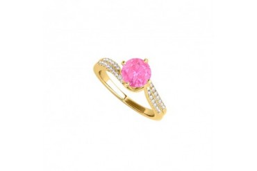 Brilliant Cut Pink Sapphire and CZ Engagement Ring