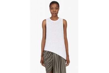 Helmut Lang White Cotton Knit Tucked Cord Tank Top