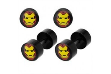Marvel Comics Iron Man Mask Acrylic Faux Plug Earrings