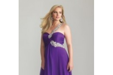 "Night Moves ""In Stock"" Purple Plus Size Dress - Style 6778W"