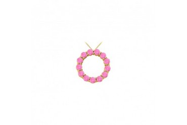 Pink Sapphire Circle of life Pendant in Yellow Gold 14K Total Gem Weight of