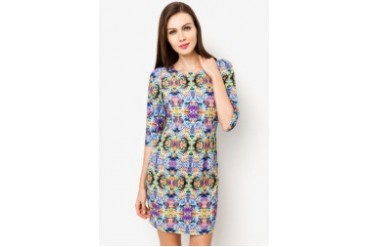 Mirror Floral 3/4 Sleeve Dress