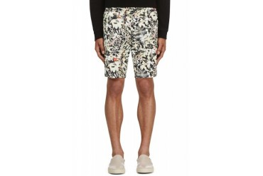 White Mountaineering Green Floral Print Shorts