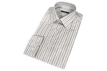 Elegant Striped Gray Cotton Dress Shirt