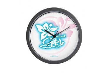 ISLAND GIRL 1 Tropical Wall Clock by CafePress