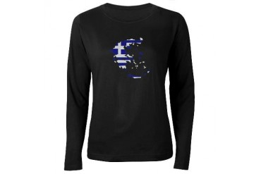Greece map flag Flag Women's Long Sleeve Dark T-Shirt by CafePress