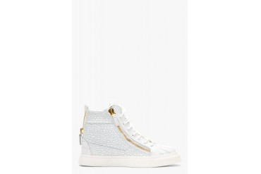 Giuseppe Zanotti White Croc embossed Leather London Sneakers