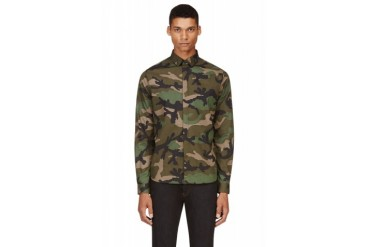 Valentino Blue And Green Camouflage Shirt
