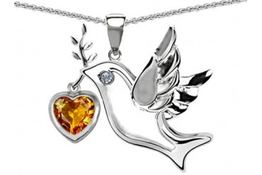 Star K Peace Love Dove Pendant 7mm Heart Shape Simulated Citrine