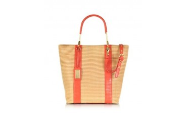 Miranda Woven Reed Canvas and Leather Tote