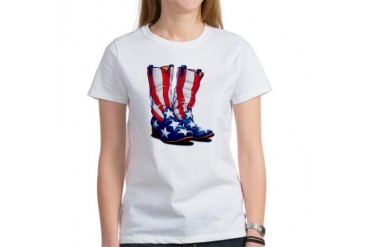 Amercan Flag Cowboy Boots Horses Women's T-Shirt by CafePress