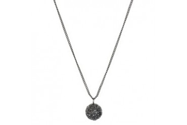Hematite Pave Ball Pendant Necklace