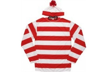 Where's Waldo Glasses, Hat and Long Sleeve Shirt Costume