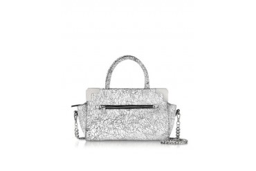 Attivita White and Black Cracked Leather Satchel