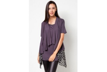VnJ Long Blouse With Attached Scarves