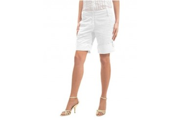White Cuffed Mid-Length Linen Shorts