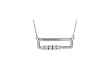 CZ Rectangle Necklace For Mother in 925 Sterling Silver