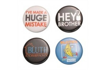 Arrested Development Huge Mistake, Bluth Logo, Frozen Banana, Hey Brother Four Button Set