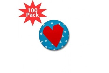 Red Heart Cool Mini Button 100 pack by CafePress